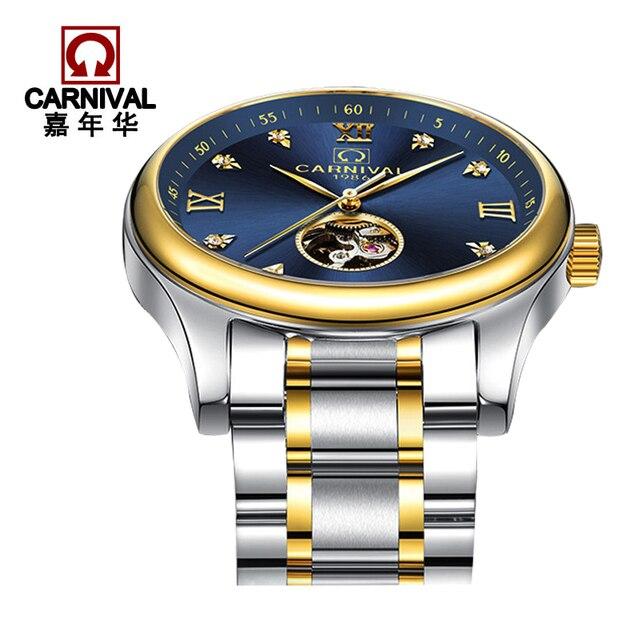 5255293ebf8 Carnaval Relógio de Marca Famosa Relógio Esqueleto Homens Luxo Automático  Ouro relógio de Pulso Cinta de