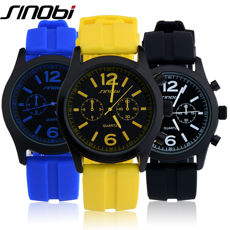 SINOBI Fashion Sport Watch Quartz Watches Men Colorful Silicone Watch Man Teenage Boys Watches цена 2017