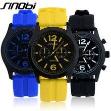 SINOBI Fashion Sport Watch Quartz Watches Men Colorful Silicone Watch Man Teenage Boys Watches