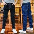 Muchachos Negro Pantalones Vaqueros de Cintura Elástica Pantalones de Mezclilla Para Niños Ropa para niños marca de Pantalones de Primavera 3 5 7 11 12 Años Los Niños Ropa