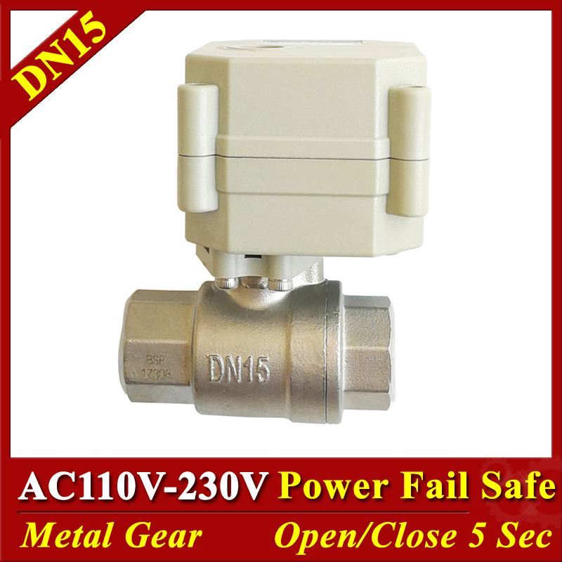 BSP/NPT 1/2 SS304 DN15 Power Fail Close/Open Motorized Ball Valves  AC/DC9-24V AC110V-220V 2/5 Wires Spring Return ValveBSP/NPT 1/2 SS304 DN15 Power Fail Close/Open Motorized Ball Valves  AC/DC9-24V AC110V-220V 2/5 Wires Spring Return Valve