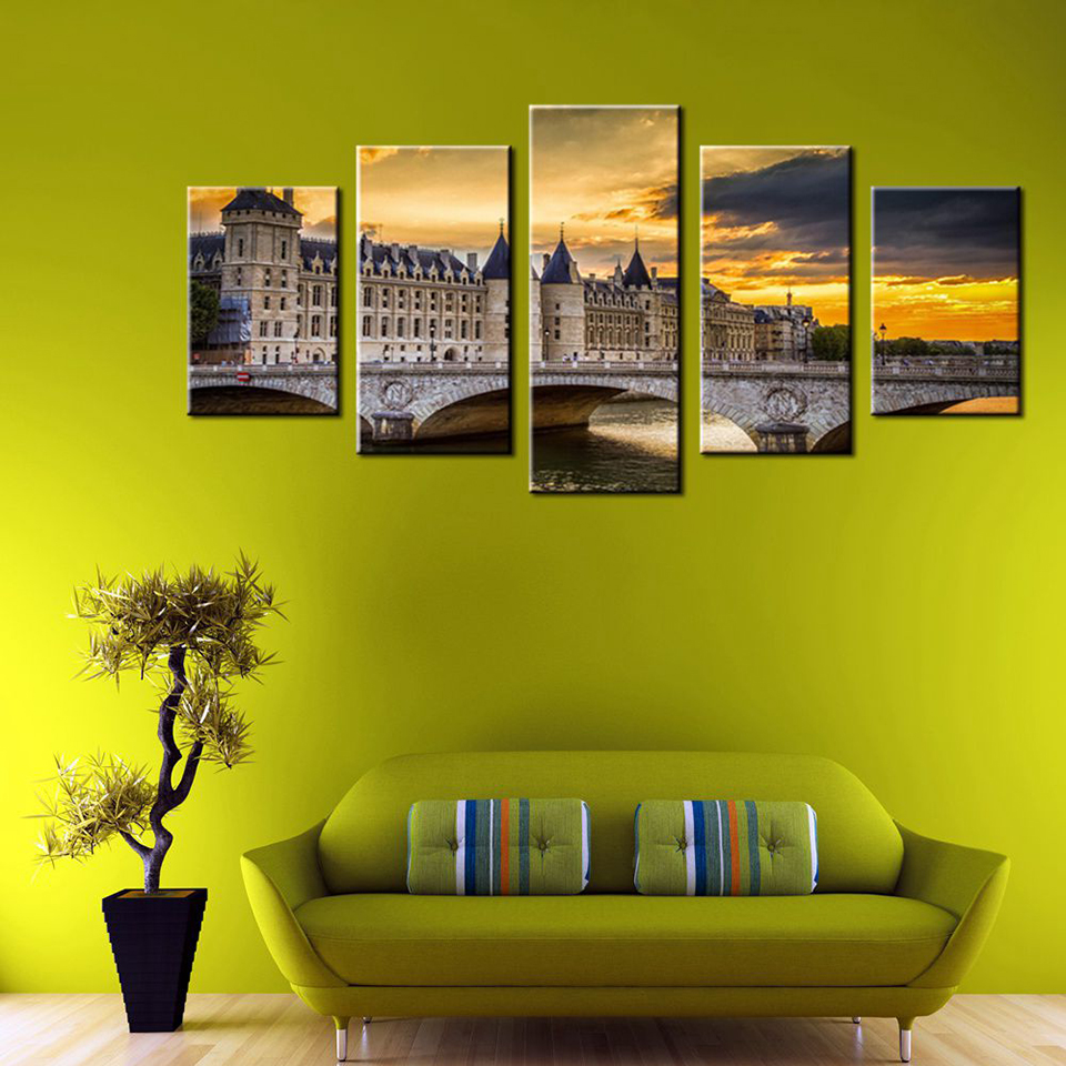 Wall Art Frame Canvas Living Room Picture 5 Panel Sunset Landscape ...