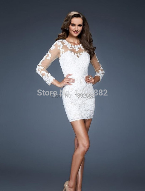 Vintage White Lace Cocktail Dresses With Long Sleeves 2015 Vestido