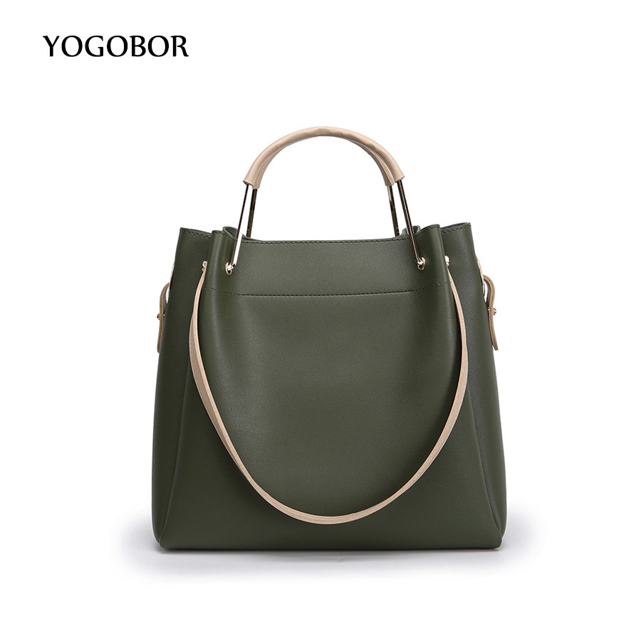 ФОТО YOGOBOR new casual women bucket shoulder bags famous brand fashion designer handbag solid composite bag pouch women totes 2017
