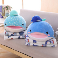 Plush Toys Shark Whale Soft Kawaii Stuffed Cushion Blanket Pillow Blanket Office/Car/Lunch Break Blanket Pillow for Chair 3 in 1