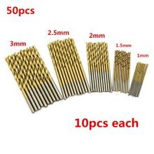 цена на 50pcs/Lot 1mm/1.5 mm/2mm/2.5mm/3mm Titanium Coated Mini Micro Round Shank Drill Bits Set Small Precision HSS Twist Drill