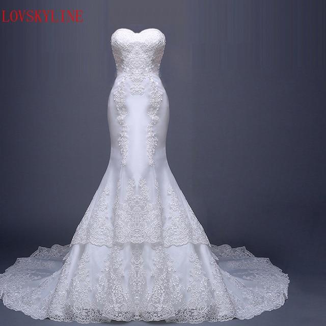 cfa0a164a زائدة طويلة أنبوب أعلى ذيل السمكة الملكي العروس الساخن 2018 ثوب الزفاف صور  حقيقية الأبيض الرباط