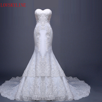 Long Trailing Tube Top Fish Tail Royal Bride Winter 2016 Bridal Wedding Gown Real Photos White