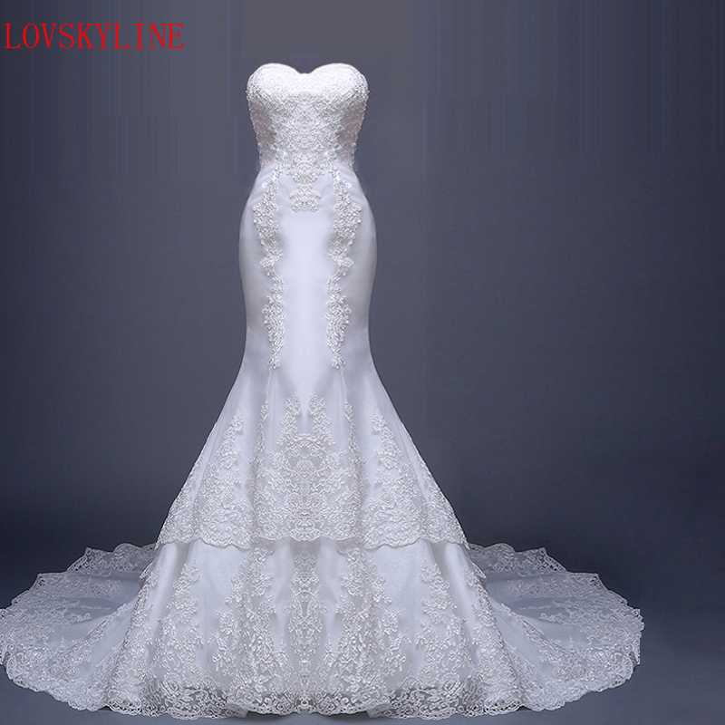 long trailing tube top fish tail royal bride hot 2017 Bridal Wedding Gown Real Photos White Lace Cheap Mermaid Wedding Dress