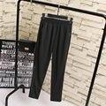 S41 Outono Mulheres calças lápis Plus Size 3XL Mulher Roupas Casuais Elástico da cintura ambos os lados Splice Ponte-de-roma Moda Calças