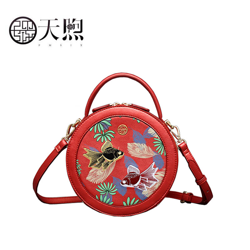 Pmsix 2019 New Superior pu Leather handbags fashion women Luxury printing Round bag small tote women leather shoulder bag