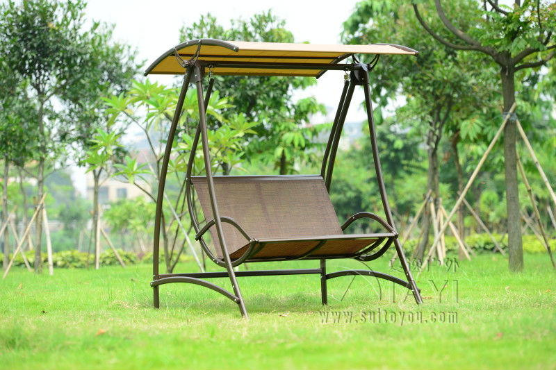 2 seats durable iron garden swing chair comfortable hammock outdoor furniture sling cover bench khaki
