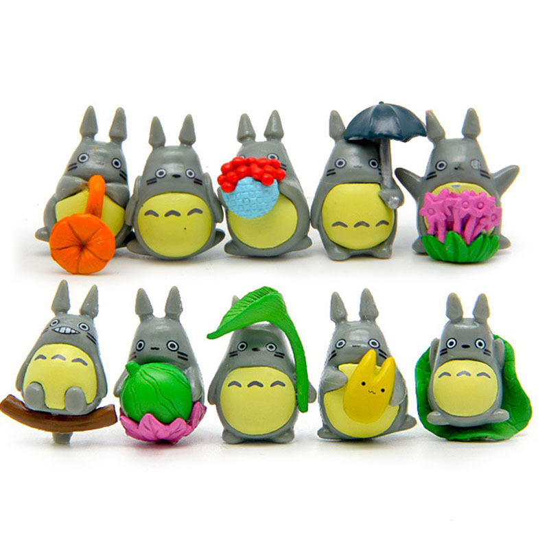 10pcs/lot Mini Totoro figure umbrella toy set 2016 New kawaii Japanese Anime My neighbor totoro figuren juguete party decoration loz my neighbor totoro toy umbrella totoro model action figure diamond building blocks original box 14 gift 9509