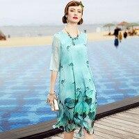 A3HT659 Europe And America Women Summer Dress Brand Natural Silk Clothes Chiffon Printing Dress Ladies100 Silk