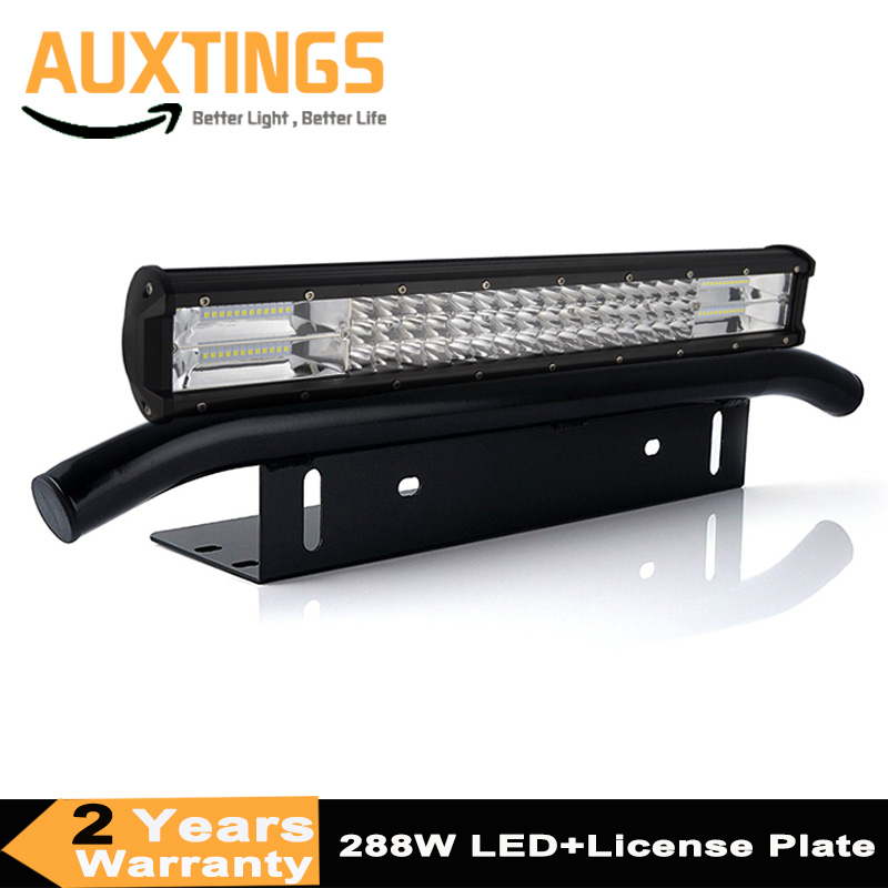 7D 20inch 288w Combo Led Light Bar + Bull Bar Front Bumper License Plate Bracket For Trucks Offroad 4WD 4x4 Tractor Car