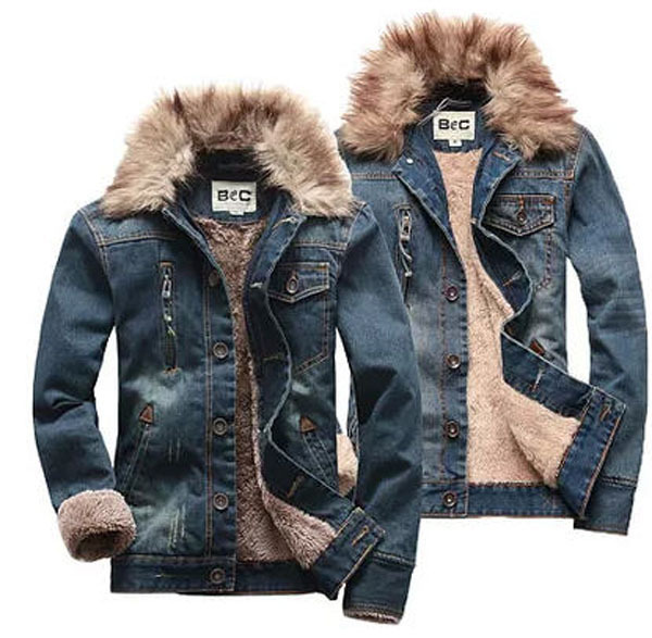 Men Winter Rabbit Fur Collar Denim Jacket Cashmere Detachable Fur Collar Plus Size Casual Cotton Warm Denim Coat Clothes S999 2017 winter new clothes to overcome the coat of women in the long reed rabbit hair fur fur coat fox raccoon fur collar