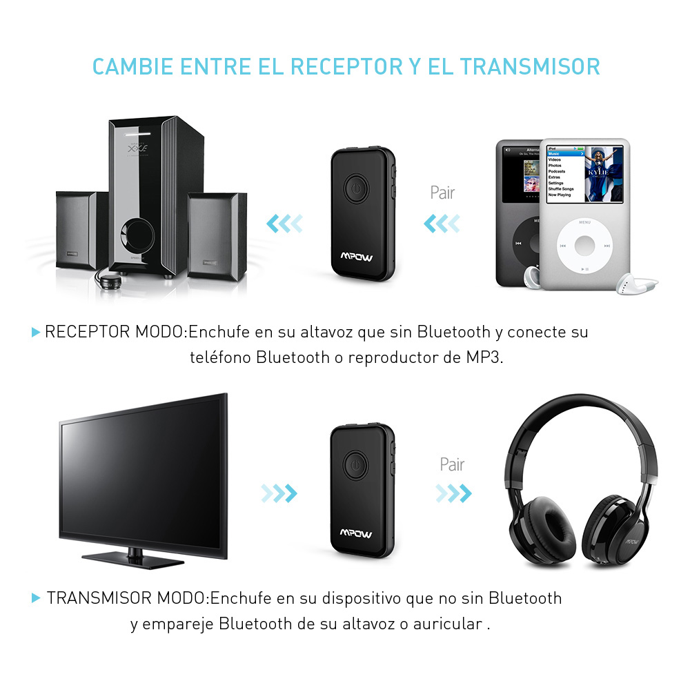 Mpow 045a 2 In 1 Bluetooth Receiver Transmitter Wireless Adapter Aux 42 35mm Audio Receptor Converter For Headphone Stereo System Car
