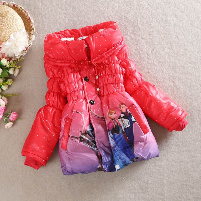 2017 New Girls Frozen Coat Baby Winter Long Sleeve Warm Jacket Children Cotton Padded Clothes Kids