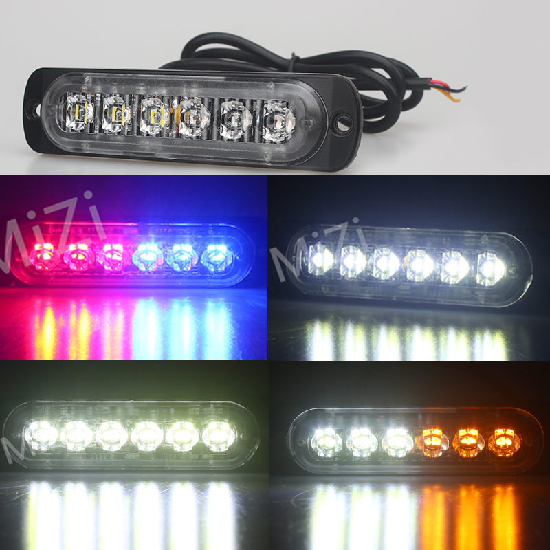 Amber Red Blue 12V 6 Led Strobe Warning Light Strobe Grille Flashing Lightbar Ultra-thin Truck Car Lamp lights Car-styling tg wg01 truck led red and blue flashing warning lights strobe light fog lights taillights
