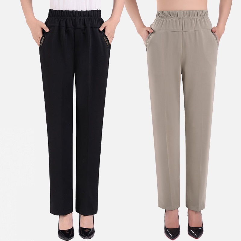 Middle-aged And Old Ladies Summer Trousers 2019 Spring Autumn Fashion Casual Loose Elastic Waist Straight Pants Plus Size 6XL