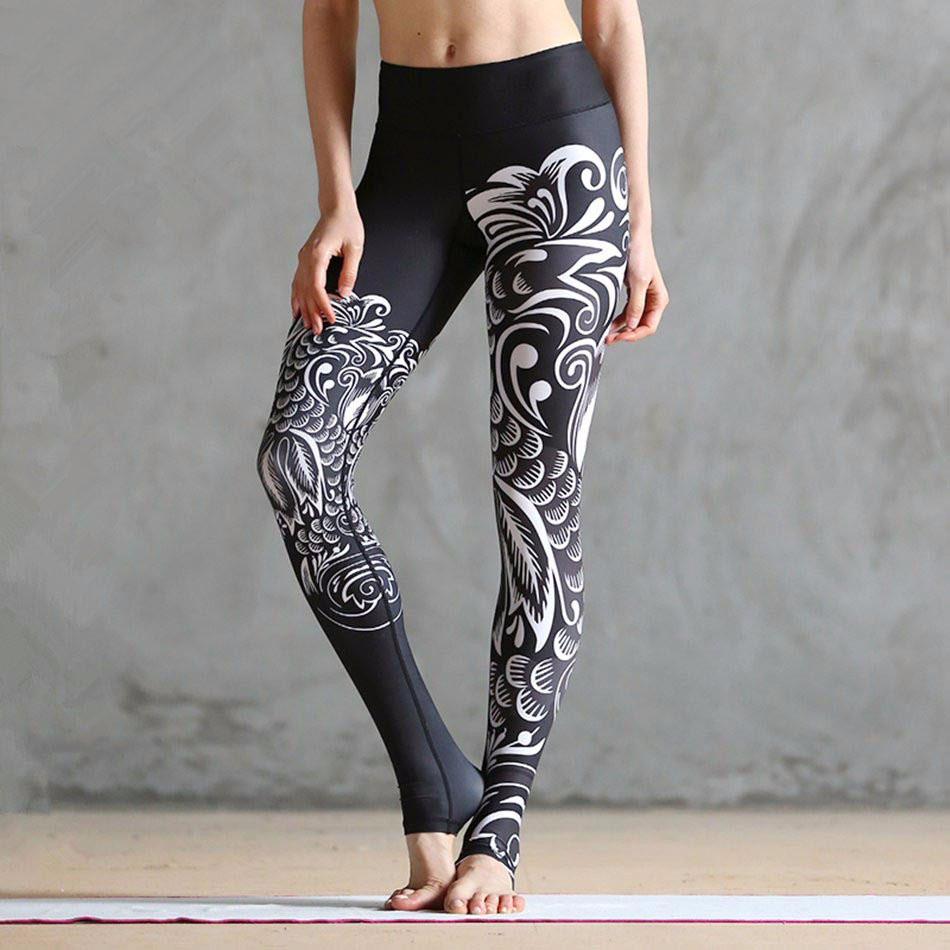 Women Digital Printed Leggings Skinny Elastic Mid Waist Clouds Printed Artists Shape Workout Bottoms