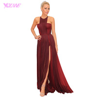 Burgundy Long Celebrity Red Carpet Dresses Formal Prom Dress Halter Crepe Split Court Train Plus Size