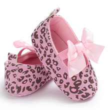 Princess Girl  Leopard Baby Shoes Bow knot Lace Up Jane Crib  Sweet Ballet Dress First Walkers For Toddler цена