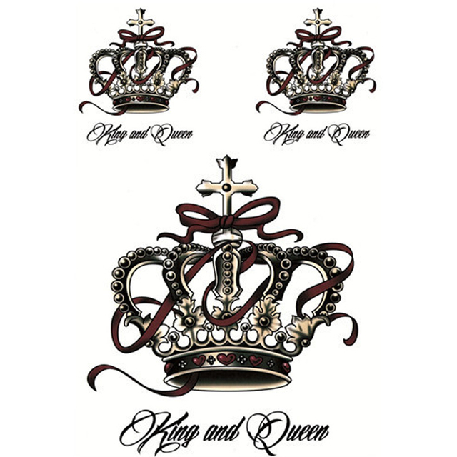 buy design temporary tattoos sleeve the luxury crown style 3d tattoo sticker. Black Bedroom Furniture Sets. Home Design Ideas