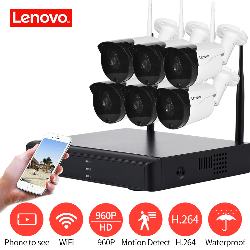 LENOVO 6CH Gamme HD Sans Fil Système de Caméra de Sécurité DVR Kit 960 P WiFi caméra Extérieure HD NVR nuit vision Surveillance caméra