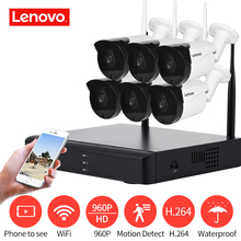LENOVO 6CH מערך HD אלחוטי אבטחת מצלמה מערכת DVR ערכת 960 P WiFi מצלמה חיצוני HD NVR ראיית לילה מעקבים מצלמה