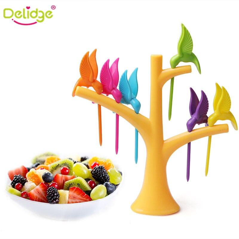 Delidge 6 pcs +1 Stand Birds Tree Shape Fruits Fork ...