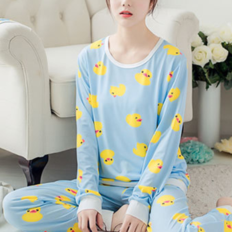 Womens Soft   Pajamas     Sets   Autumn Round Neck Cartoon Kawaii Chick Cartoon Print Sleepwear Female Casual Autumn Winter   Pajamas