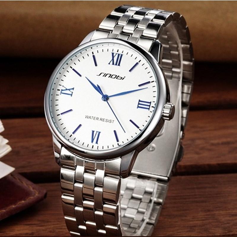 Reloj Hombre 2018 SINOBI New Fashion Men Wrist Watches Stainless Steel Watchband Top Luxury Brand Male Quartz Clock  Men Watch