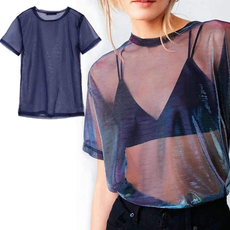 Chic Sexy Mesh Tee See-Through T-shirts Perspective Shine Casual Top Vintage Blusa Fashion New