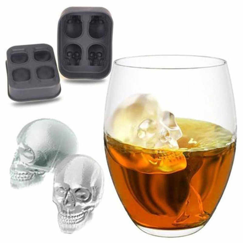 Sale 1PC Hot Large Ice Cube Tray Pudding Mold 3D Skull Silicone Mold 4-Cavity DIY Ice Maker Household Use Kitchen Accessories