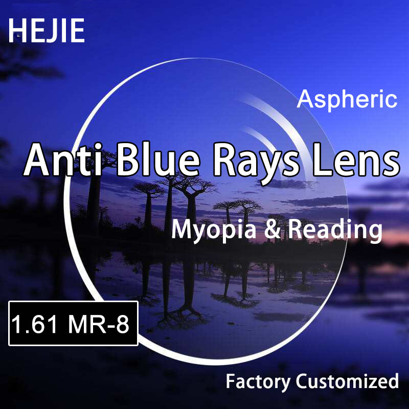 Factory Customized 1 61 MR 8 Anti blue Rays lenses Aspheric Single Vision lens for Myopia