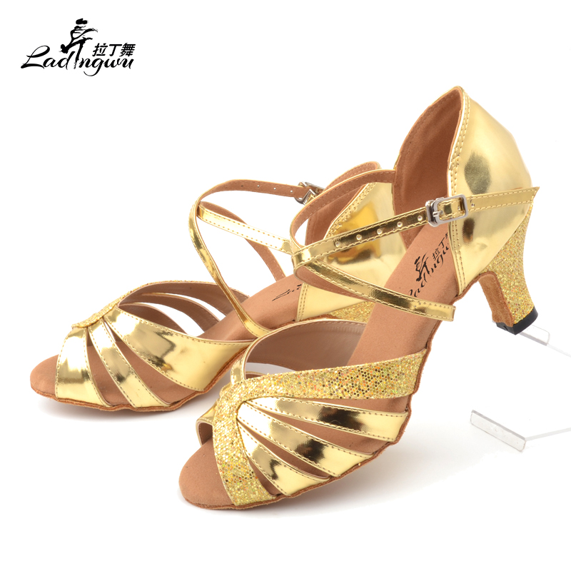 Ladingwu New Golden /Silver PU With Flash Cloth Indoor Ballroom Dance Shoes Soft Bottom Party Latin Salsa Dance Shoes