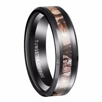 6mm Black Tungsten Ring Men's Red Forest Camouflage Camo Hunting Men Vintage Rings Size 5 13