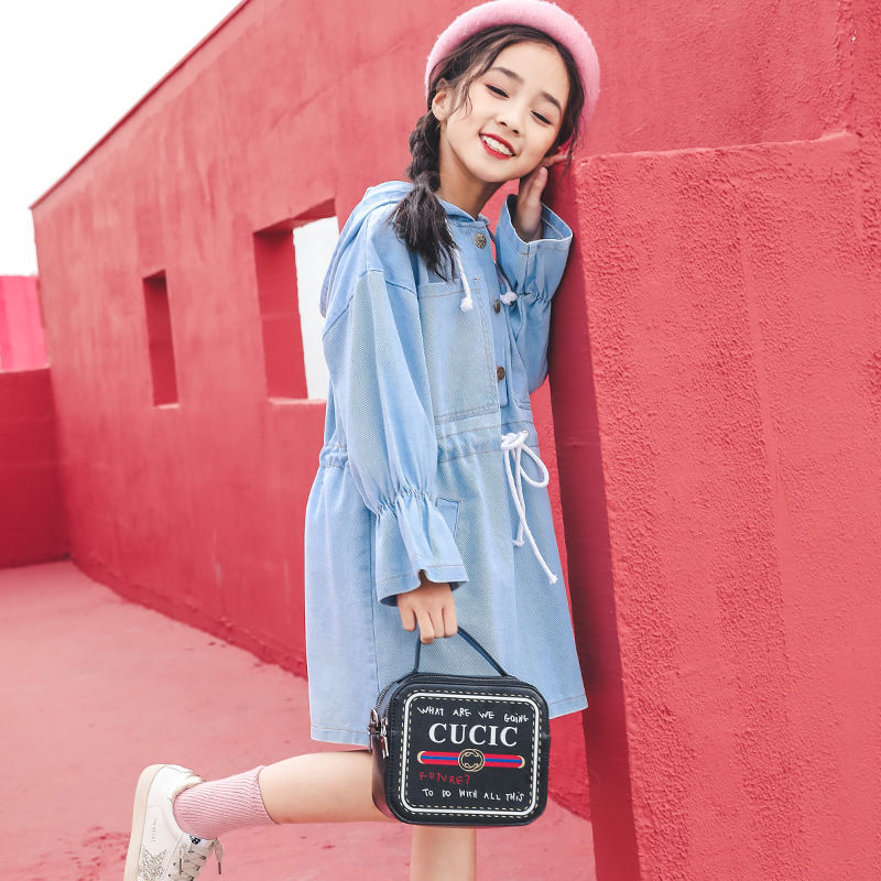 2019 Dress For A Teenager Spring Jeans Dress Hooded Long Sleeve Dresses For Teens Loose Denim Dress For Girls 12 Years Outwear