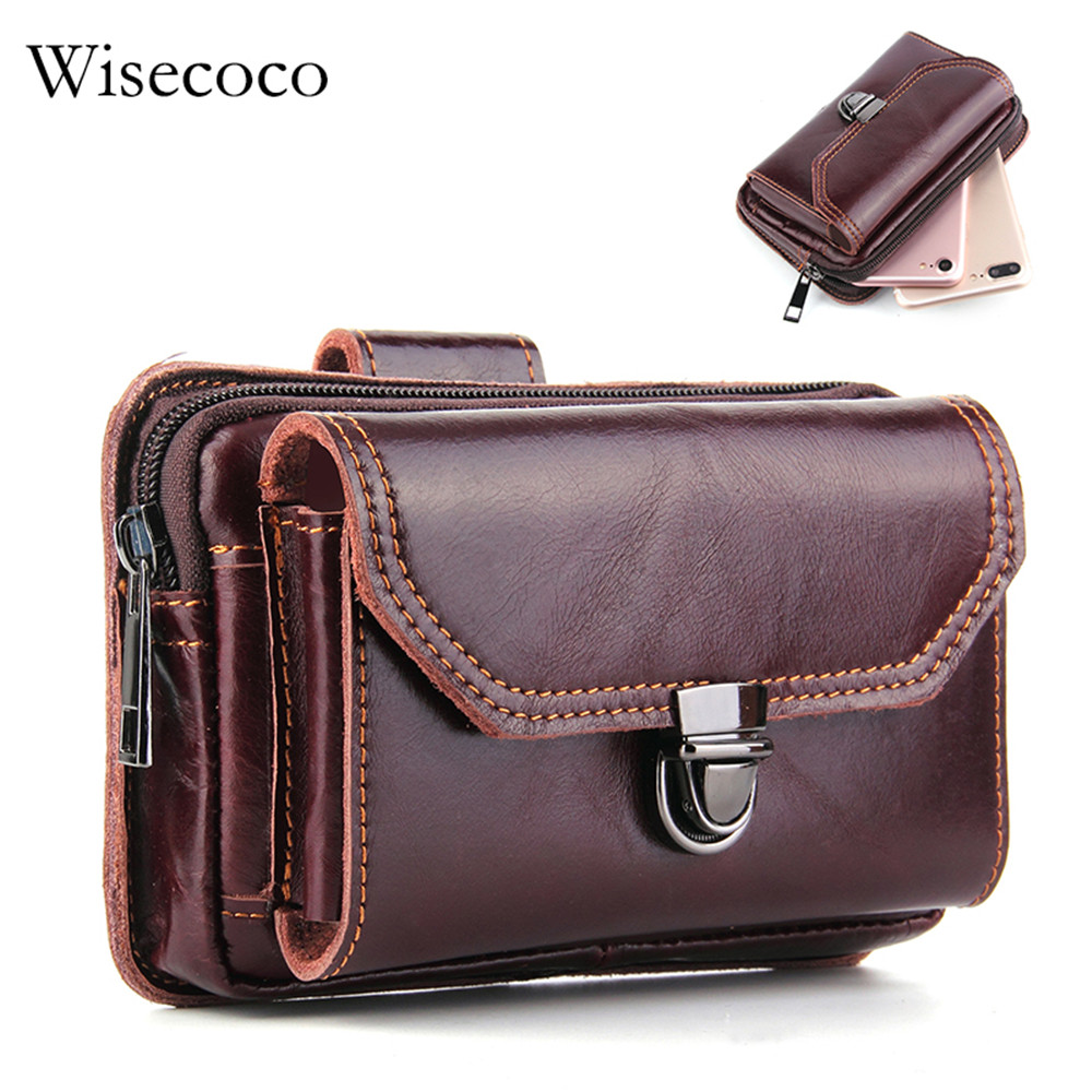 Luxury Genuine Leather Wallet Bag for iPhone 8plus Universal Brown Mens Waist Belt Pack Cell Phone Purse Case S9 S8 Plus Pocket