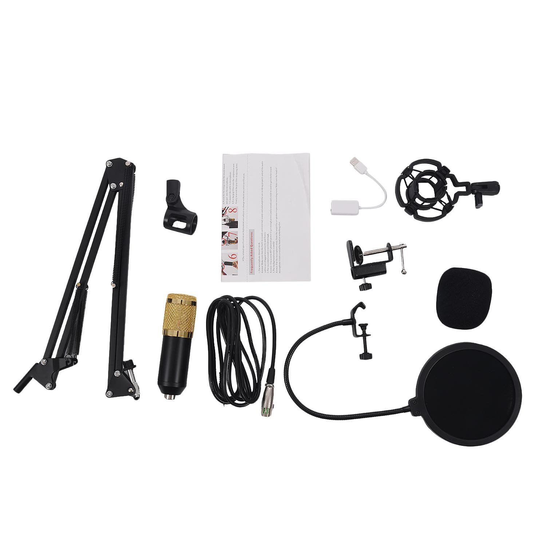 BM800 Condenser Microphone Kit Studio Suspension Boom Scissor Arm Sound Card 3.5mm Wired Vocal Recording KTV Karaoke Microphone karaoke boom kb 108ru gold микрофон
