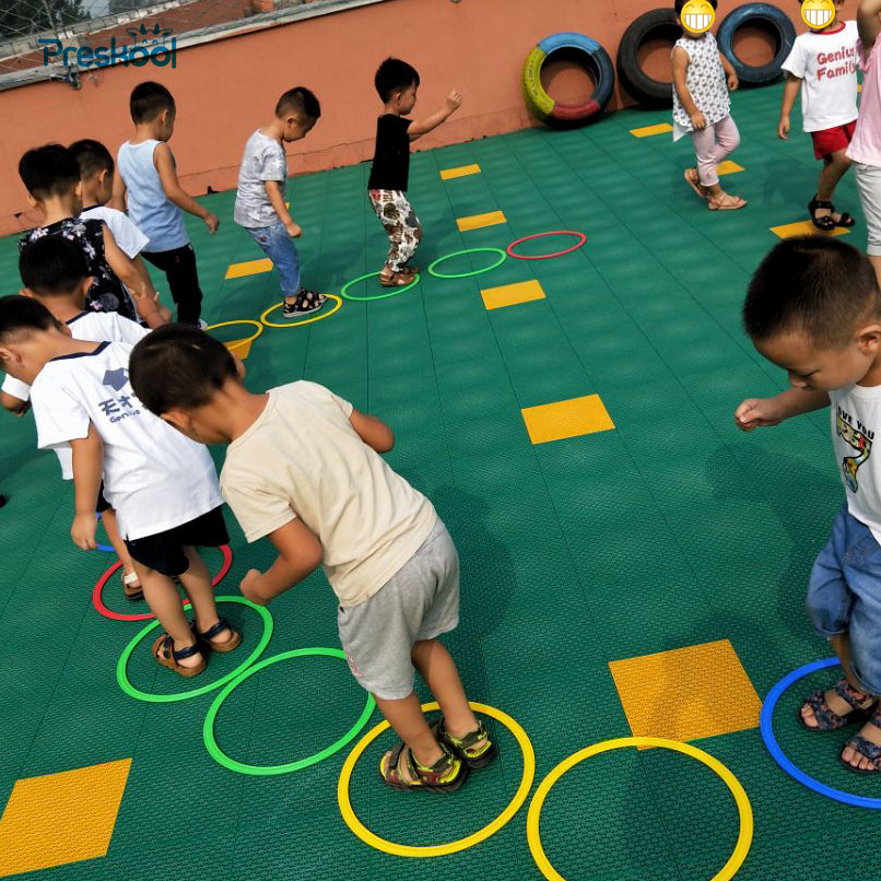 Preskool Baby Toy For Children Jumping Ring Kindergarten Teaching Aids Outdoor Sport Game Physical Fitness Training Equipment kid s arrows games toys hands and feet jumping outdoor play games school kindergarten sport equipment