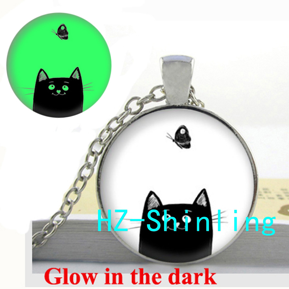 Glow in The Dark Black Cat Necklace Lovely Cat Glowing Pendant Glass Butterfly Jewelry Cat Lovers Gifts