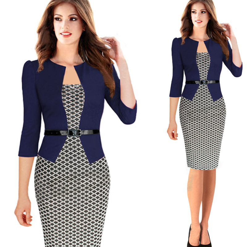 LIMSISNIW Plaid Patten Office Lady Pencil Middle Dress S 4XL Women ...