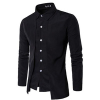 2018 Tuxedo Shirts Men Irregular Fashion Cotton Breathable Comfortable Shirts Blouses England Style Turn Down Collar