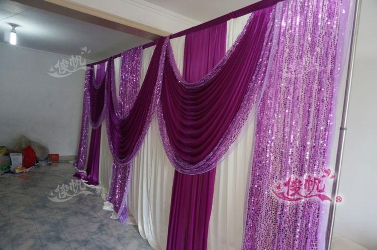 Ледяной шелк белый свадебный фон с фиолетовые пайетки Swag пользовательский цвет роскошный свадебный фон для свадебной вечеринки декор - Цвет: Сливовый