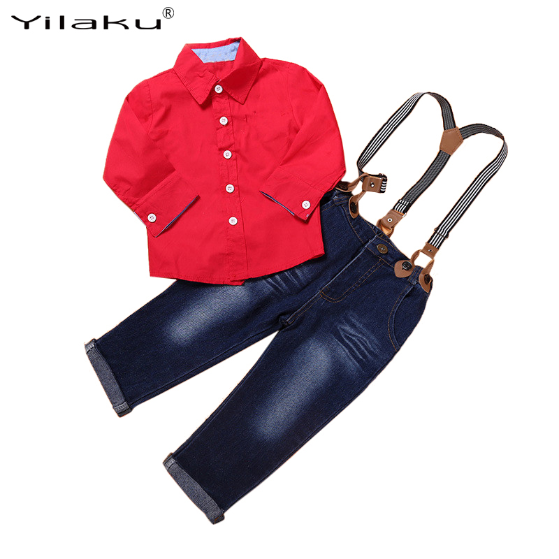 Chilren Clothes Set 2017 New Autumn Baby Boy Clothing Sets Child Long Sleeve Shirt+Denim Suspender Trousers Kids Outfits CF540  new 2015 autumn winter fashion baby kids boys long sleeve shirt jeans denim trousers set outfits 1 6y