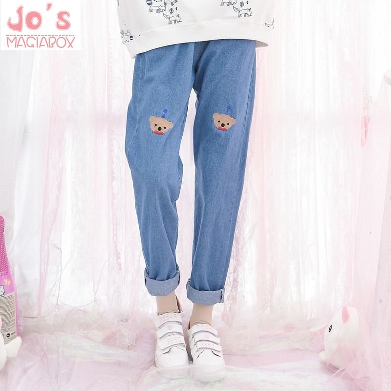 Kawaii Ankle-Length Trousers Pants Cartoon Embroidery Elastic Waist Casual Denim Pants Chic Preppy Style Cute Straight   Jeans