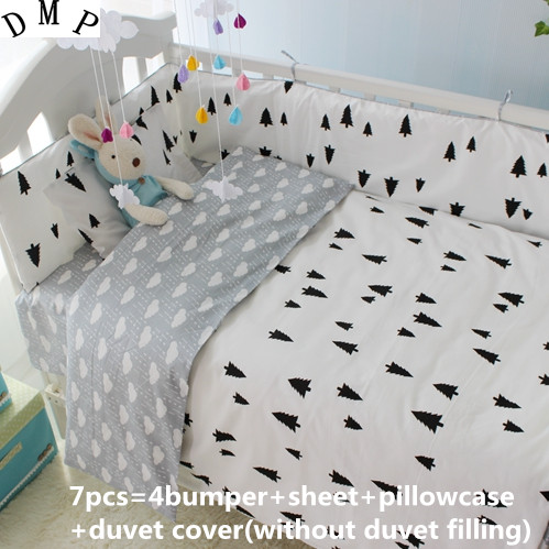 Promotion! 6/7PCS Baby Bedding Set Newborn Crib Bedding Cartoon Cotton Bumpers, Free Shipping,Duvet Cover ,120*60/120*70cm