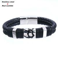 Double 6mm Cowhide Rope Charm Style Bracelets For Women Men Scrub Stainless Steel Magnet Bracele Jewelry